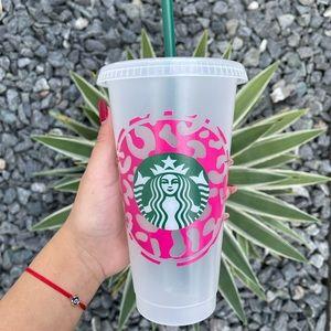 Cheetah around logo Starbucks cup